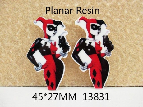5 x 26MM HARLEY QUINN LASER CUT FLAT BACK RESIN HEADBANDS HAIR BOWS CRAFTS